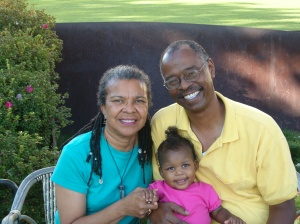 At the Getty with my parents - rocking her 'frohawk!